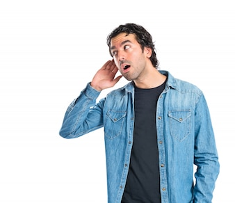 Man listening over isolated white background