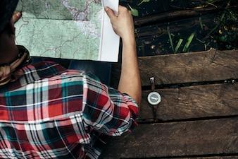 Man looking at a map