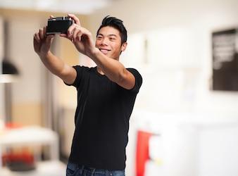 Man making an auto photo