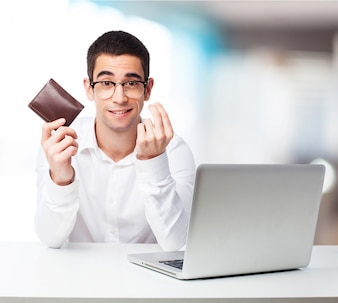 Man making money gesture and holding a wallet