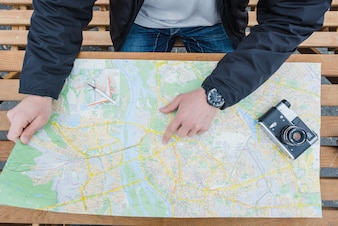 Man navigating and making route