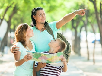 Man pointing the direction  for family