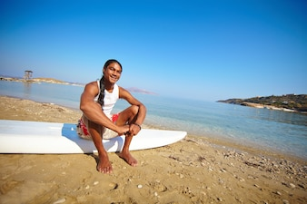 Man ready to learn to surf
