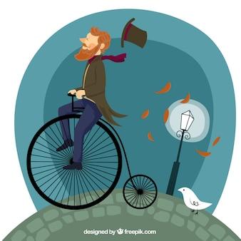 Man riding a retro bike