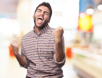 Man screaming and celebrating
