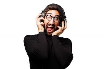 Man shouting while listening through earphones