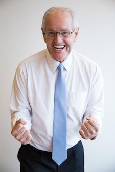 Man showing happy studio smiling