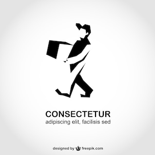 Man silhouette delivery logo template