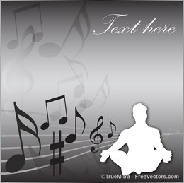 Man silhouette on musical background