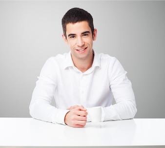 Man smiling sitting