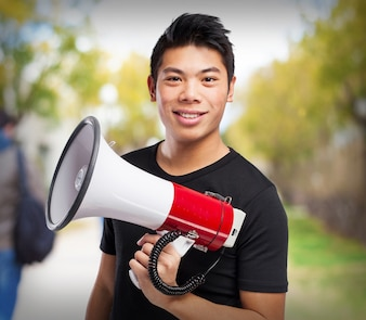 Man smiling with a megaphone