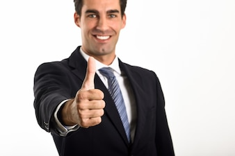 Man smiling with a thumb up
