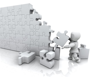 Man solving a puzzle