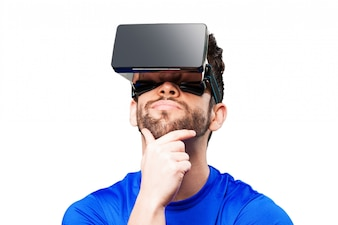 Man thinking with a augmented reality glasses
