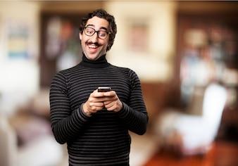 Man typing on mobile