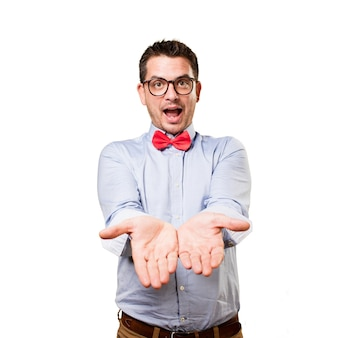 Man wearing a red bow tie. Offering something.