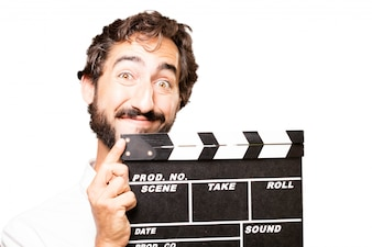 Man with a film clapperboard