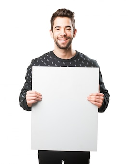 Man with a large poster