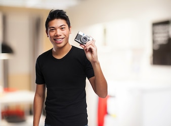 Man with an old camera