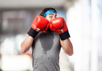 Man with boxing pose defense