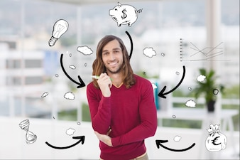 Man with bubbles text with images
