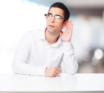 Man with glasses doing not listening