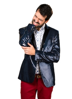 Man with jacket with neck pain