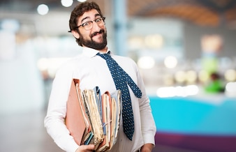 Man with many folders