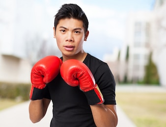 Man with red boxing gloves