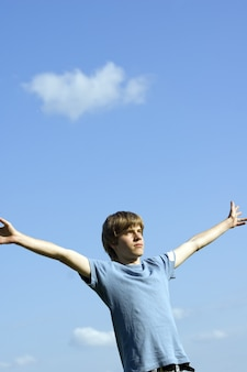 Man with sky background