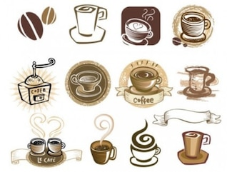 Many coffee elements vector