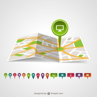 Map pin template vector
