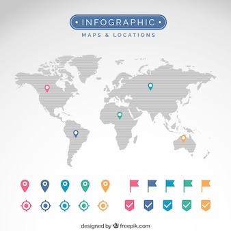Maps and locations infographic