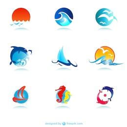 Marine symbols vector set