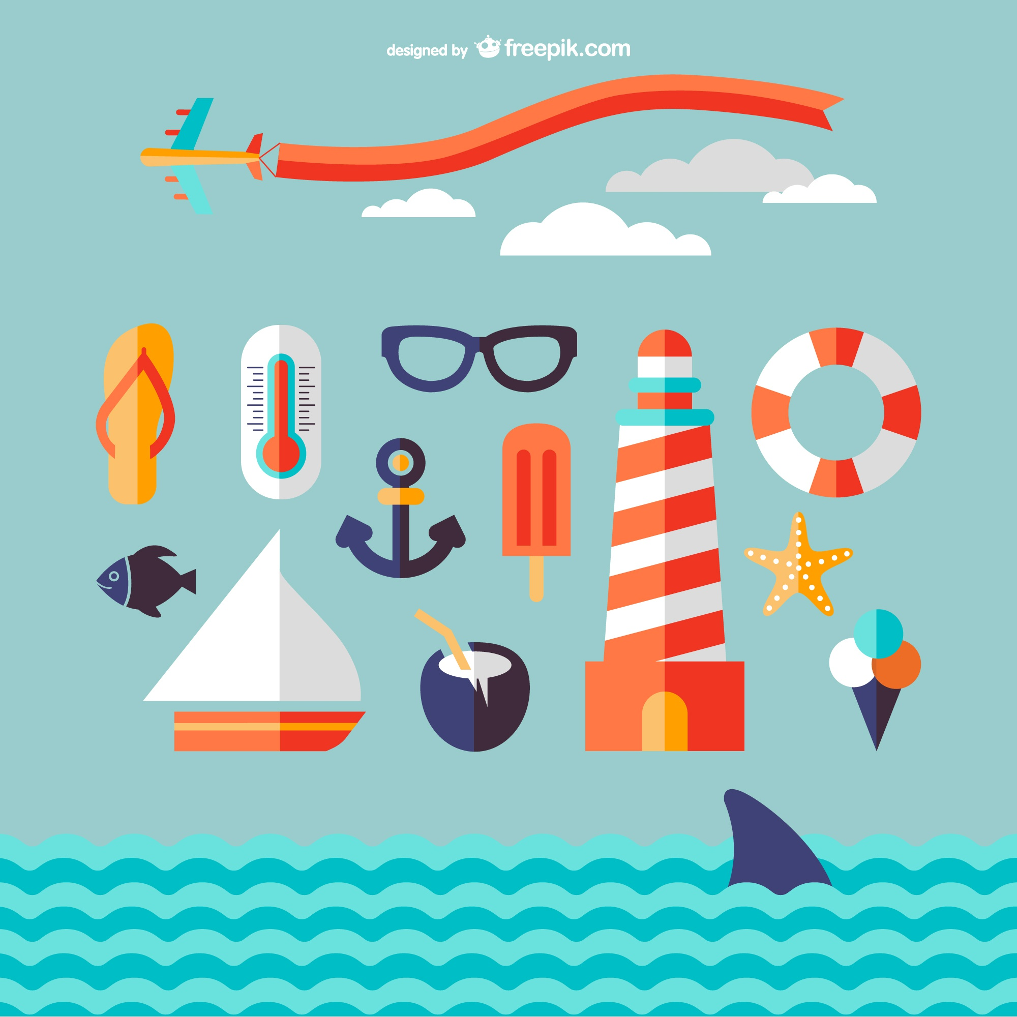 Marine travel icons vector
