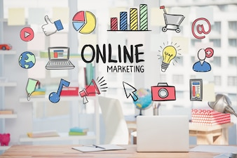 Marketing online strategy with drawings