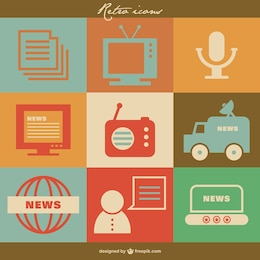 Mass media retro vector icons