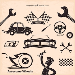 Mechanic icons in retro style