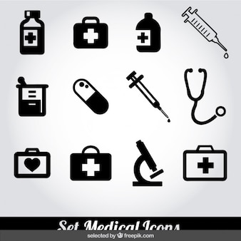 Medical black and white icons collection