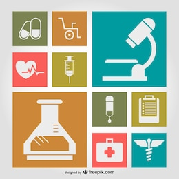 Medical symbols flat illustration