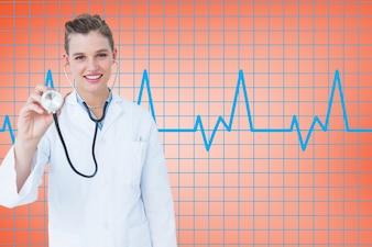 Medical visualization stethoscope cheerful examining