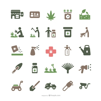 Medicinal marijuana and gardening icons