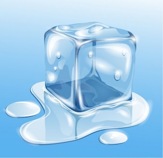 Melted ice cube realistic background
