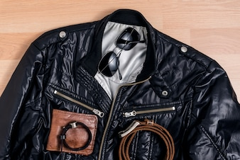 Men casual trendy fashion with Black jacket and accessories