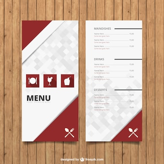 Menu template with icons