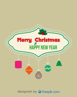 Merry Christmas and Happy New Year Banner with decorative objects suspended from ropes