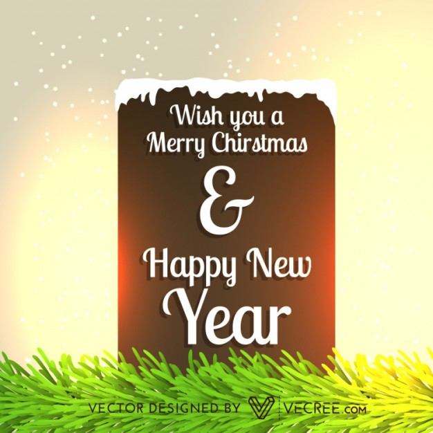 Merry Christmas and Happy New Year snowy card