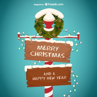 Merry Christmas and happy New Year wooden sign