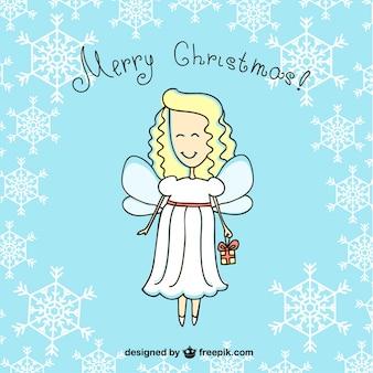 Merry Christmas angel cartoon
