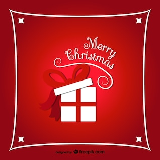 Merry Christmas background with present box